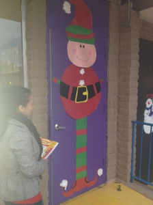 Elf decor brightens this classroom's door.