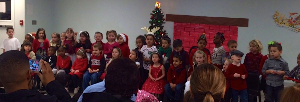 Preschool students perform for the Christmas program at CAS.
