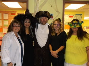 Preschool staff all participate in Halloween spirit too.