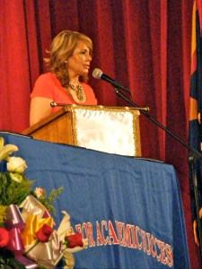 Douglas Principal, Marcela Munguia, welcomes the families and friends to commencement.