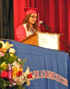 Salutatorian Deanne A. Flores Durazo speaks to the crowd.