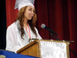 Valedictorian Laura Jeanne Blair delivers her address.