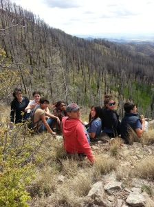 Students enjoy the view from Barefoot Trail