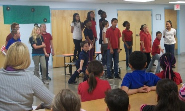 "Students perform the song ""Boogie Woogie Bugle Boy"""